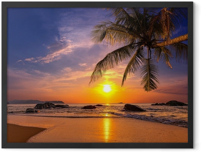 Sunset over the sea. Province Khao Lak in Thailand Framed Poster