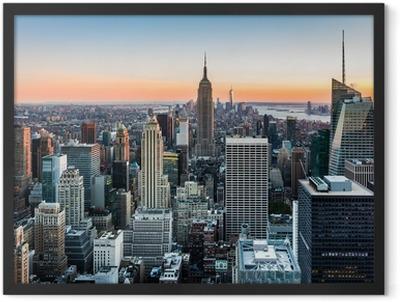 New York skyline at sunset Framed Poster