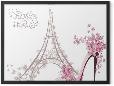 High-heeled shoes on background of Eiffel Tower. Paris Fashion Framed Poster