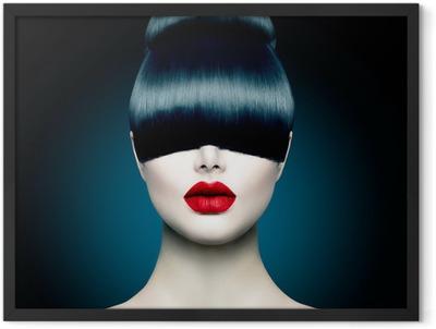 High Fashion Model Girl Portrait with Trendy Fringe Framed Poster