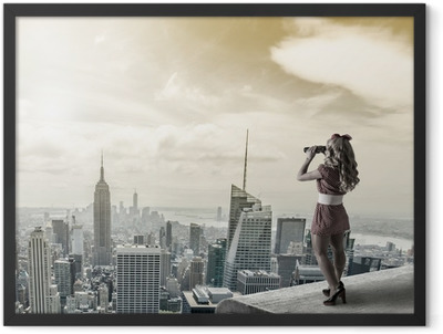 Pin-up woman watching New York City trough binoculars. Framed Poster