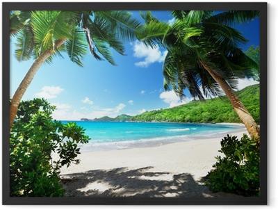beach, Mahe island, Seychelles Framed Poster