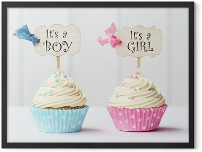 Baby shower cupcakes Framed Poster