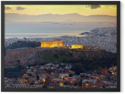 Athens, Greece. After sunset. Parthenon and Herodium constructi Framed Poster