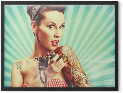 Pin-Up girl with tattoos Framed Poster
