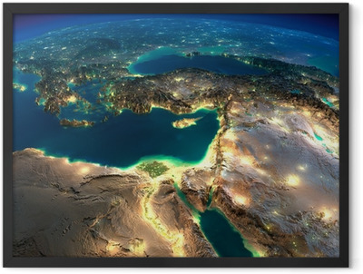 Night Earth. Africa and Middle East Framed Poster