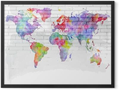 Póster Enmarcado Acuarela mapa del mundo en una pared de ladrillo