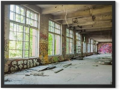 Big windows in old abandoned factory hall Framed Poster