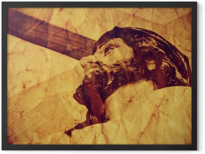 Jesus Christ carrying the Holy Cross, with a retro effect Framed Poster