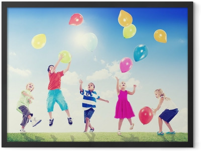 Multi-Ethnic Children Outdoors Playing With Balloons Framed Poster
