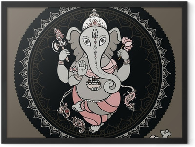 Ganesha Hand drawn illustration. Framed Poster
