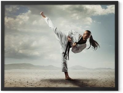Karate girl kick Framed Poster