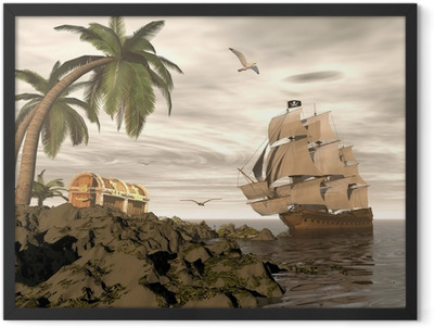 Pirate ship finding treasure - 3D render Framed Poster
