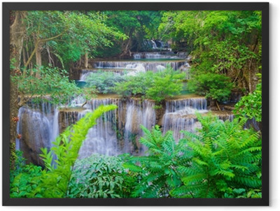 Deep forest Waterfall in Kanchanaburi, Thailand Framed Poster