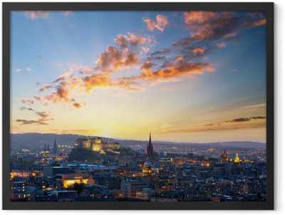 Sunset view of Edinburgh, UK Framed Poster