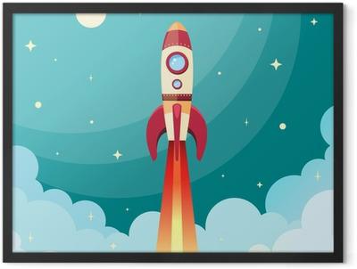 Space rocket print Framed Poster