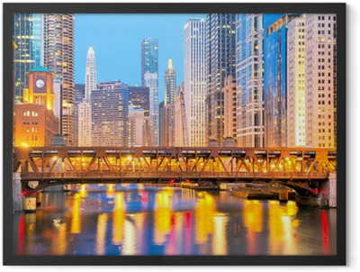 Chicago downtown and River Framed Poster