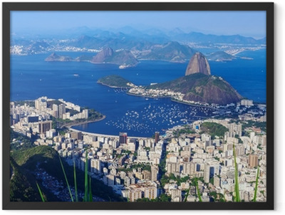 The mountain Sugar Loaf and Botafogo in Rio de Janeiro Framed Poster