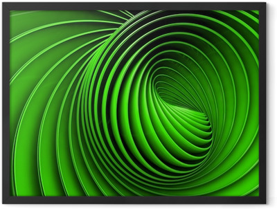 Abstract 3d spiral or twirl in green toned Framed Poster