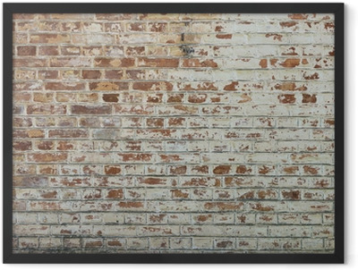 Background of old vintage dirty brick wall with peeling plaster Framed Poster