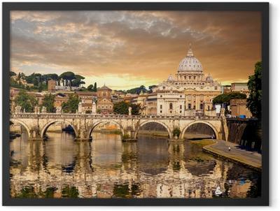 Basilica di San Pietro with bridge in Vatican, Rome, Italy Framed Poster