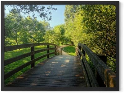 wooden bridge on park Framed Poster