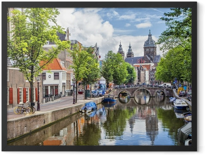 Canal and St. Nicolas Church in Amsterdam Framed Poster