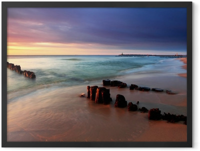 Baltic sea at beautiful sunrise in Poland beach. Framed Poster