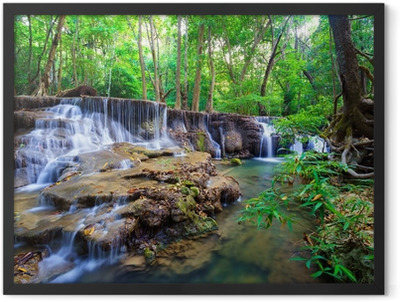 Deep forest Waterfall in Thailand Framed Poster