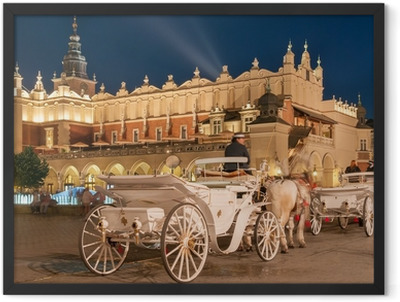Carriages before the Sukiennice on The Main Market in Krakow Framed Poster