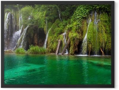 Waterfall and lake at Plitvice Lakes, Croatia. Framed Poster