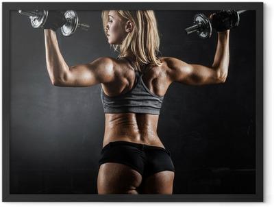 Fitness with dumbbells Framed Poster