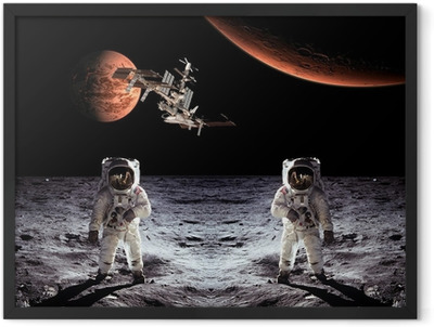 Astronauts Spaceman Moon Planets Framed Poster