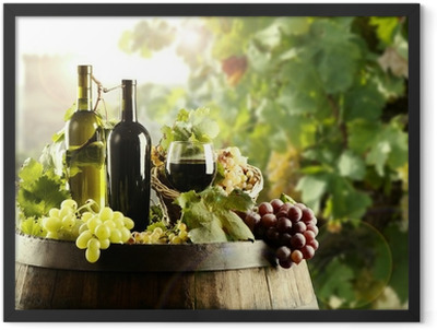 Wine with cask and vineyard Framed Poster