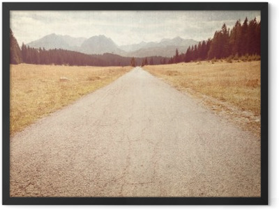 Road towards the mountains - Vintage image Framed Poster