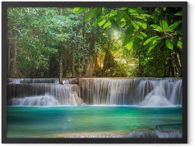 Thailand waterfall in Kanchanaburi (Huay Mae Kamin) Framed Poster
