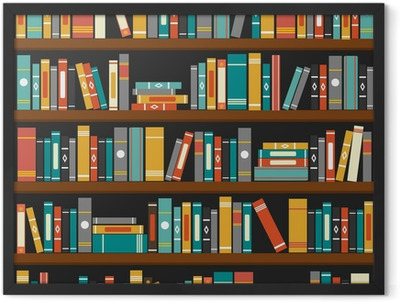 Vector of library book shelf background Framed Poster