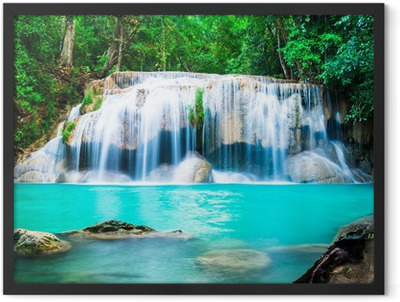 Waterfall in the Jungle at Kanchanaburi Province, Thailand Framed Poster