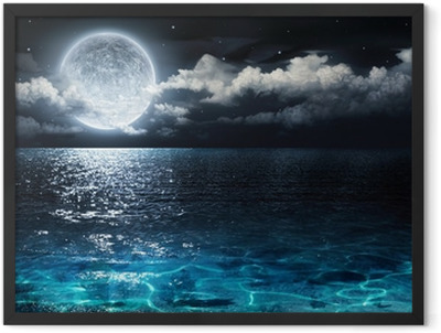 romantic and scenic panorama with full moon on sea to night Framed Poster