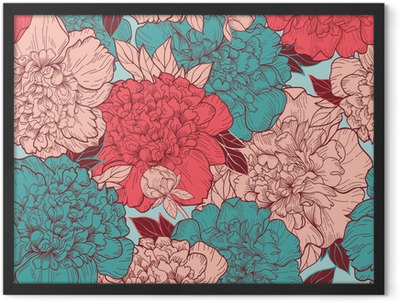 Seamless background with peonies Framed Poster