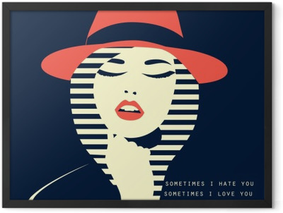stylized sexy woman with hut Framed Poster