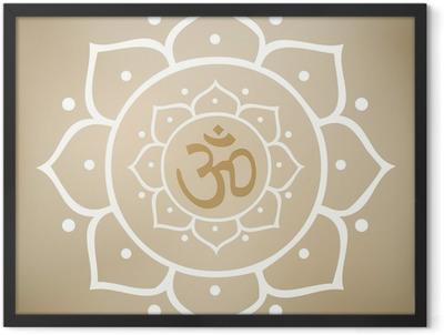 Vector Lotus Mandala with Om Symbol Framed Poster