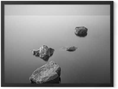 Minimalist misty landscape. Black and white. Framed Poster