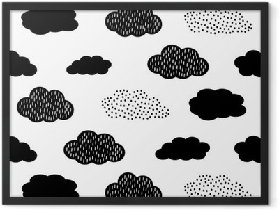 Black and white seamless pattern with clouds. Cute baby shower vector background. Child drawing style illustration. Framed Poster