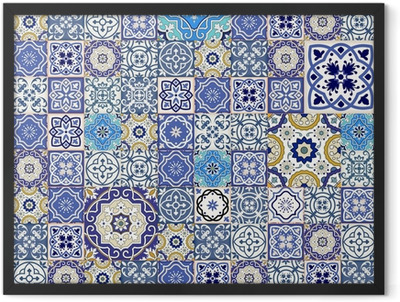 Mega seamless patchwork pattern from colorful Moroccan tiles Framed Poster