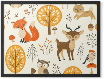 Autumn forest seamless pattern with cute animals Framed Poster