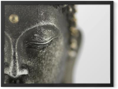 statue de bouddha sur fond blanc Framed Poster