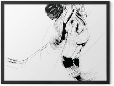 Ink drawing illustration of an ice hickey player Framed Poster