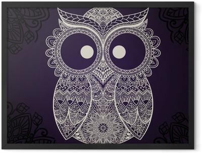 Vector illustration of owl. Bird illustrated in tribal. Framed Poster