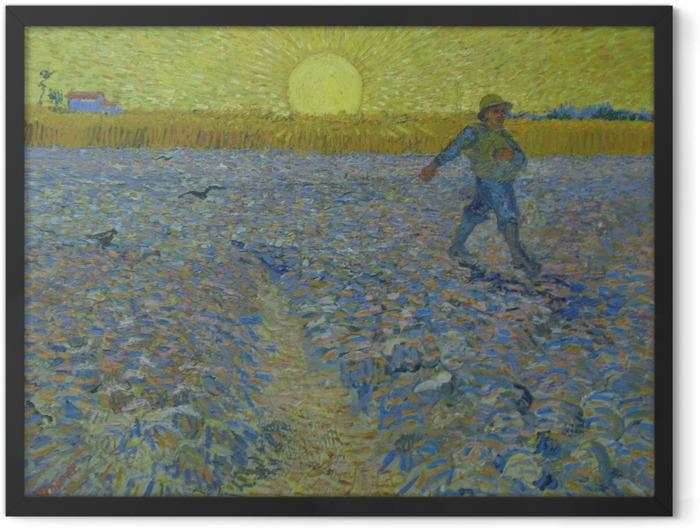 Gerahmtes Poster Vincent van Gogh - Sämann bei Sonnenuntergang - Reproductions